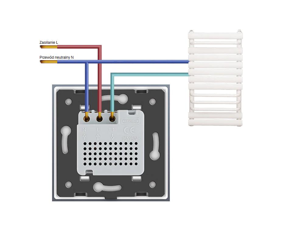 Schemat podłączenia termostatu Livolo